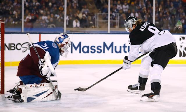 Los Angeles Kings center Adrian Kempe, right, puts a shot on Colorado Avalanche goaltender Philipp Grubauer during the first period of an NHL hockey game Saturday, Feb. 15, 2020, at Air Force Academy, Colo. (AP Photo/David Zalubowski)