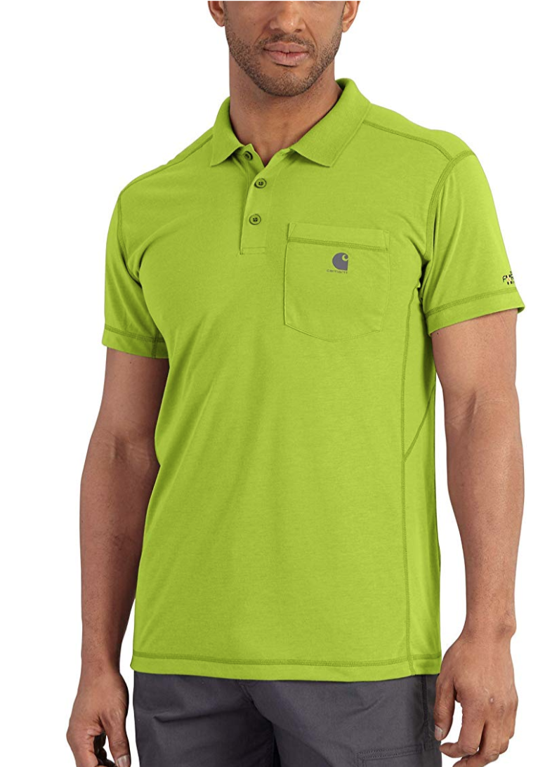 Carhartt Men's Force Extremes Pocket Polo in Sour Apple. (Photo: Amazon)