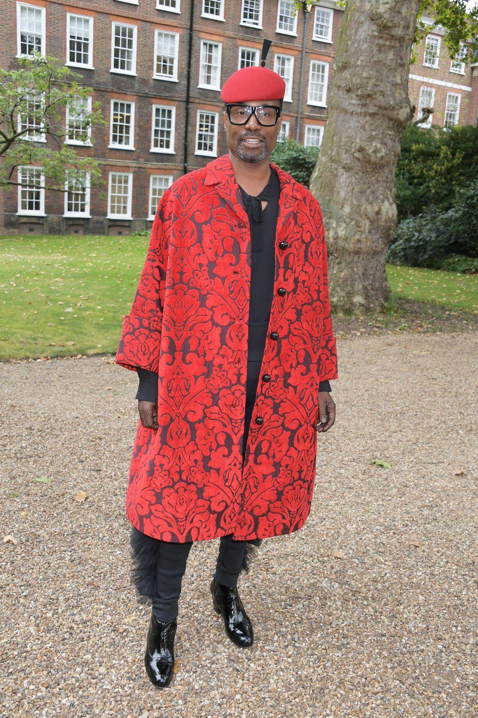 <p>For his FROW appearance at the Erdem SS20 show, the award winner chose to wear a red printed Erdem coat and a red hat by Stephen Jones.</p>