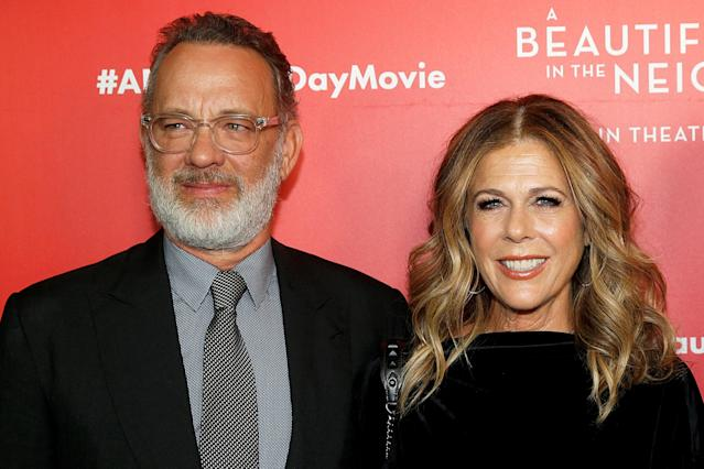 Tom Hanks and Rita Wilson at the<em> A Beautiful Day In The Neighborhood</em> screening in New York last November. (Getty Images)