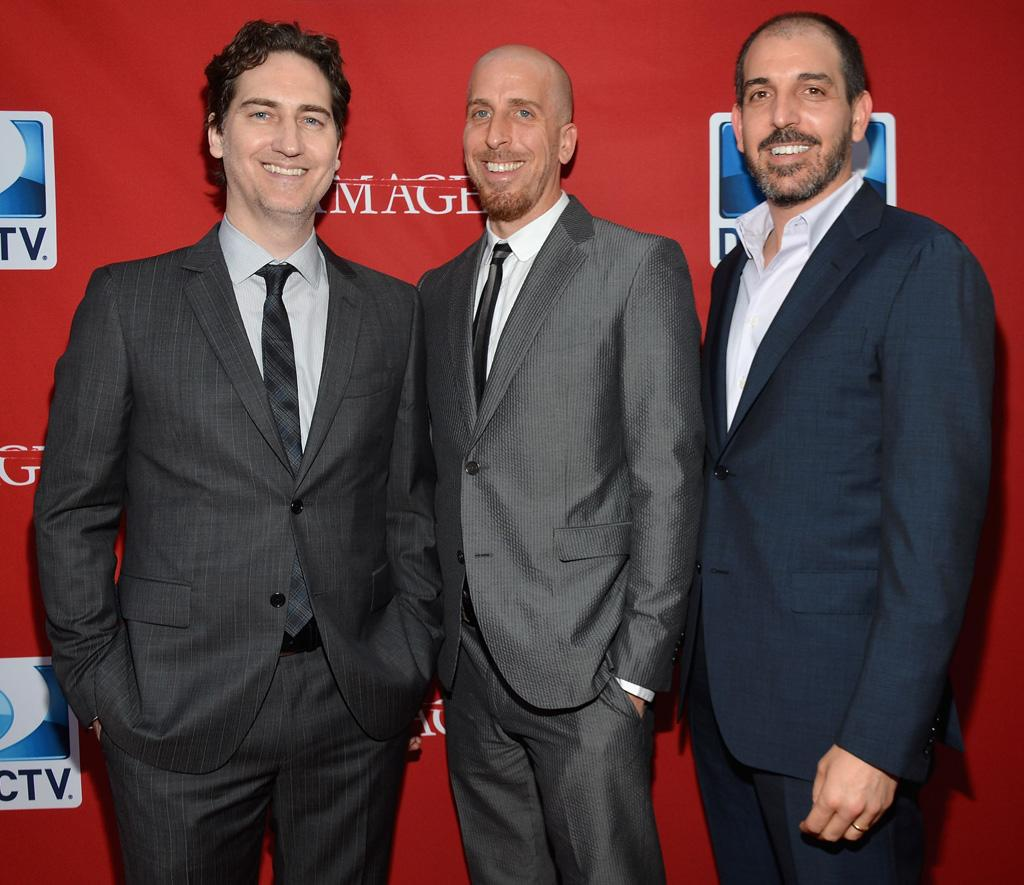"Daniel Zelman, Todd A. Kessler, and Glenn Kessler attend The DirecTV premiere for the fifth and final season of ""Damages"" at Paris Theater on June 28, 2012 in New York City."