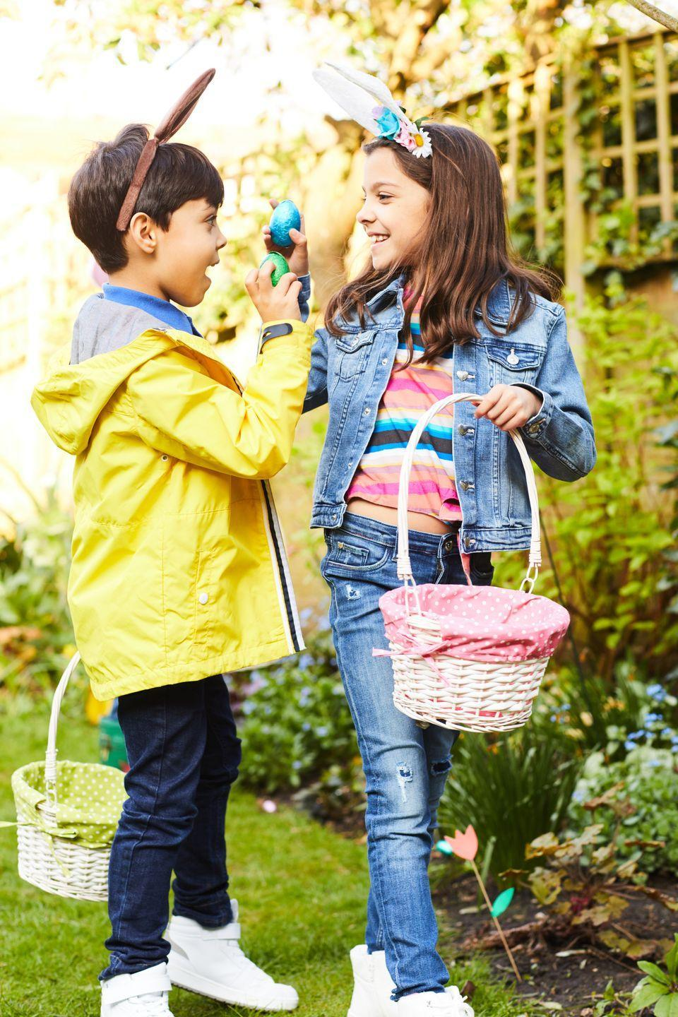 "<p>Split the kids into teams and have a member from each team search for an egg. Once they've found an egg, they tag the next teammate — just like a traditional relay race! </p><p><a href=""https://www.playpartyplan.com/10-fun-and-creative-easter-egg-hunt/"" rel=""nofollow noopener"" target=""_blank"" data-ylk=""slk:Get the tutorial from Play Party Plan »"" class=""link rapid-noclick-resp""><em>Get the tutorial from Play Party Plan »</em></a></p>"
