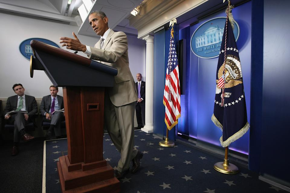 WASHINGTON, DC - AUGUST 28:  U.S. President Barack Obama makes a statement at the James Brady Press Briefing Room of the White House August 28, 2014 in Washington, DC. President Obama spoke on various topics including possible action against ISIL and immigration reform.  (Photo by Alex Wong/Getty Images)