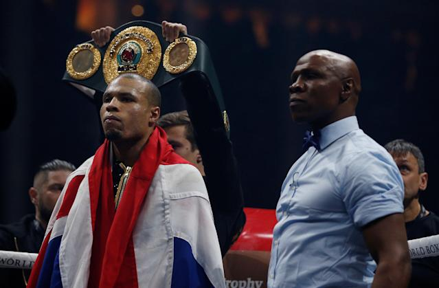 Boxing - World Boxing Super Series Semi Final - George Groves vs Chris Eubank Jr - WBA & IBO World Super-Middleweight Titles - Manchester Arena, Manchester, Britain - February 17, 2018 Chris Eubank Jr and his father Chris Eubank arrive in the ring before the fight Action Images via Reuters/Andrew Couldridge