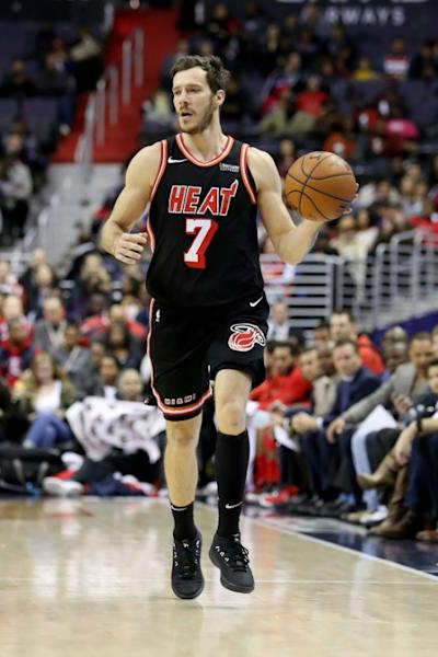 Goran Dragic (pictured) and Dion Waiters were the stars for Miami as the Heat claimed a 104-98 win in front of their home fans to stun the Boston Celtics, on November 22, 2017