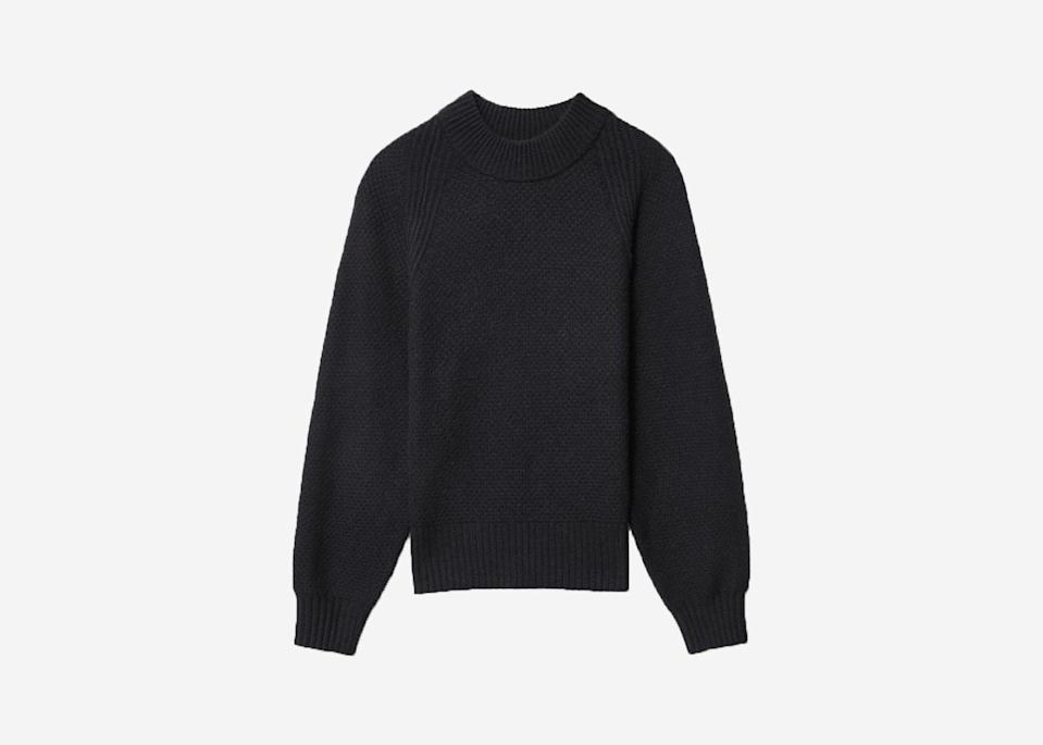 "While no one really needs another reason to love <a href=""https://www.cntraveler.com/story/how-to-find-the-perfect-cashmere-sweater?mbid=synd_yahoo_rss"" rel=""nofollow noopener"" target=""_blank"" data-ylk=""slk:cashmere"" class=""link rapid-noclick-resp"">cashmere</a>, you can feel even better about buying this sweater as it's not only the ideal cozy layer to combat freezing airports, it's also made from 100 percent recycled cashmere. Raw cashmere productions are degrading large portions of <a href=""https://www.fastcompany.com/90417006/sweater-weather-is-here-but-read-this-before-you-buy-anything-cashmere"" rel=""nofollow noopener"" target=""_blank"" data-ylk=""slk:Mongolia's pastures"" class=""link rapid-noclick-resp"">Mongolia's pastures</a>, so Everlane partnered with a mill in Prato, Italy, to up-cycle cashmere sweaters that would normally end up in landfills. The new process uses fewer dyes and chemicals than traditional cashmere production, resulting in a 50 percent smaller carbon footprint. $150, Everlane. <a href=""https://www.everlane.com/products/womens-ovszd-waffle-crew-recashmere-black"" rel=""nofollow noopener"" target=""_blank"" data-ylk=""slk:Get it now!"" class=""link rapid-noclick-resp"">Get it now!</a>"
