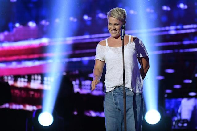 <p>Pink performs during the 60th Annual Grammy Awards show on January 28, 2018, in New York. (Photo: Getty Images) </p>