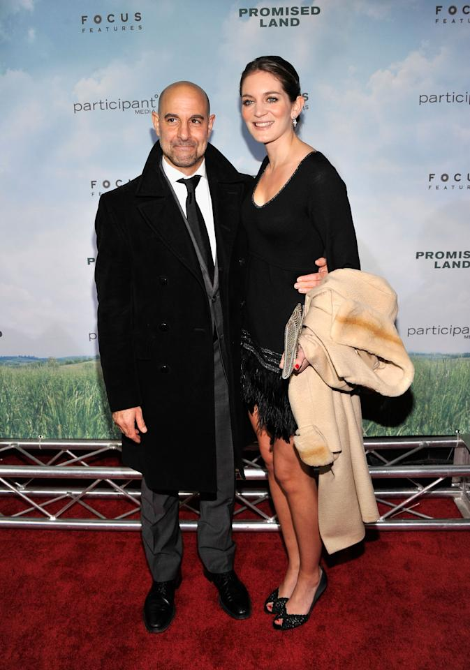 """NEW YORK, NY - DECEMBER 04:  Stanley Tucci (L) and Felicity Blunt attend """"Promised Land"""" premiere at AMC Loews Lincoln Square 13 theater on December 4, 2012 in New York City.  (Photo by Stephen Lovekin/Getty Images)"""