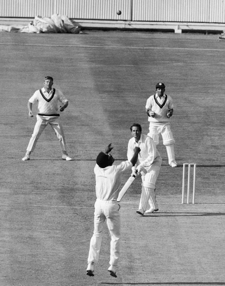 Basil D'Oliveira is caught and bowled by Clive Lloyd for 110 during England's first innings in the third test at Edgbaston, 16th July 1970. (Photo by Dennis Oulds & Leonard Burt/Central Press/Hulton Archive/Getty Images)