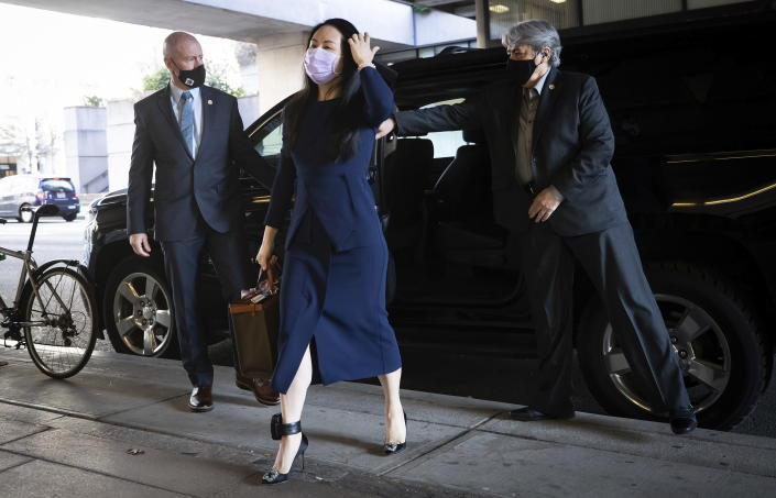 Meng Wanzhou, the chief financial officer of Huawei, arrives at British Columbia Supreme Court, in Vancouver, British Columbia, on Monday, March 15, 2021. (Darryl Dyck/The Canadian Press via AP)