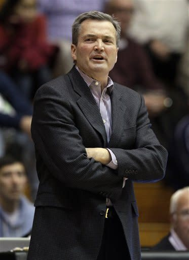 Northwestern head coach Bill Carmody yells his team during the second half of an NCAA college basketball game against Texas Southern in Evanston, Ill., on Thursday, Dec. 15, 2011. Northwestern won 81-51. (AP Photo/Nam Y. Huh)