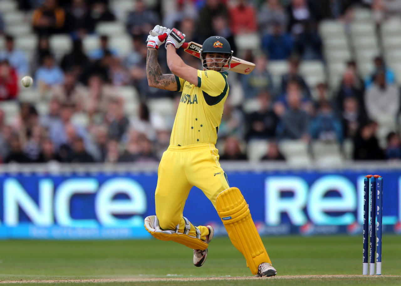 Australia batsman Mitchell Johnson scores runs during the ICC Champions Trophy match at Edgbaston, Birmingham.