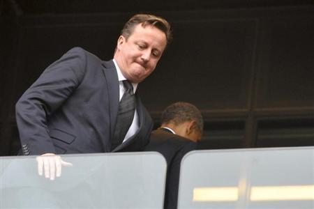 Britain's Prime Minister David Cameron attends the Memorial Service for former South African President Nelson Mandela at the First National Bank Stadium, also known as Soccer City, in Johannesburg December 10, 2013. REUTERS/Ihsaan Haffejee
