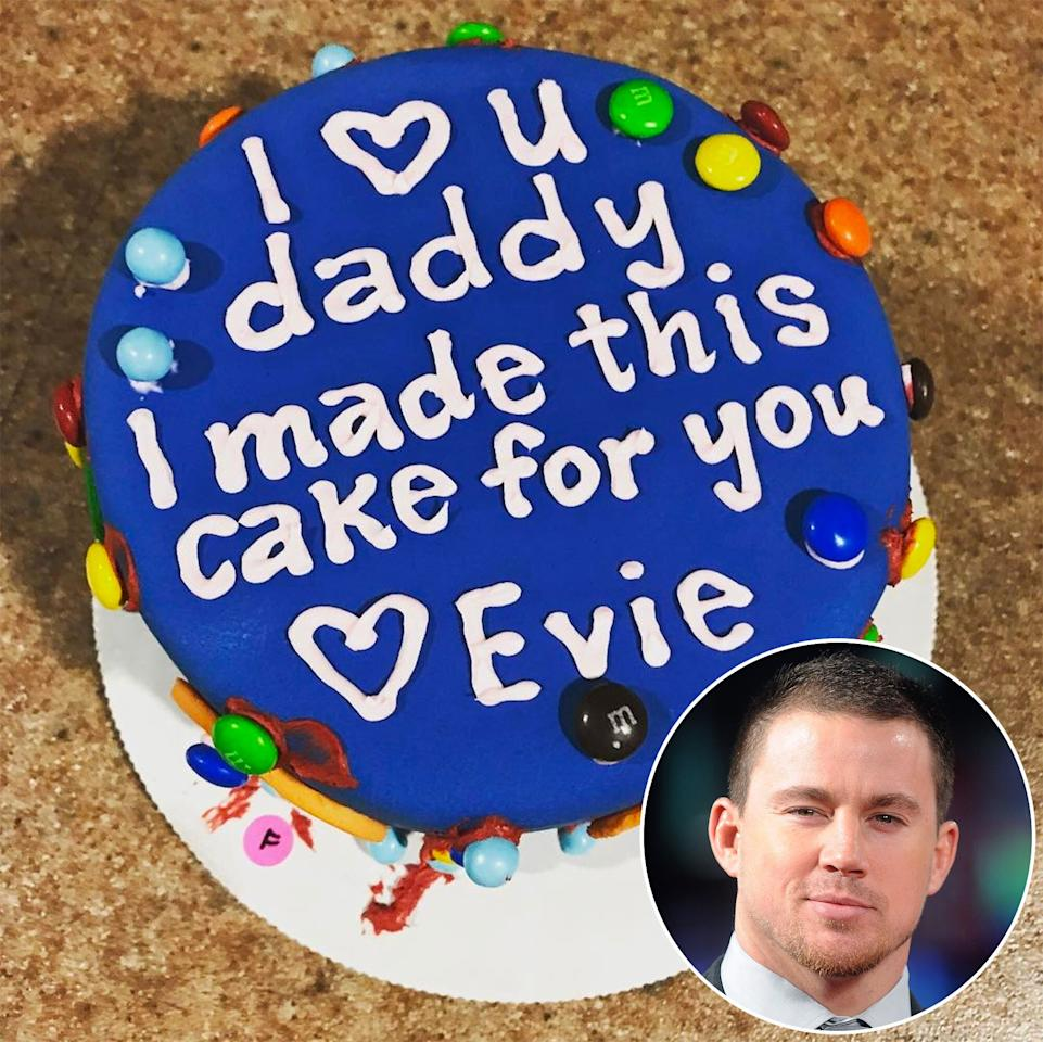 "For his 37th birthday, the <em>Magic Mike</em> star was presented with this <a href=""http://people.com/babies/channing-tatum-birthday-pictures/"">cool blue cake</a> made by his 3-year-old daughter, <a href=""http://people.com/babies/jenna-dewan-tatum-daughter-everly-has-own-style/"">Everly</a>. His wife, <a href=""http://people.com/tag/jenna-dewan/"">Jenna</a><a href=""http://people.com/tag/jenna-dewan/""> Dewan</a><a href=""http://people.com/tag/jenna-dewan/""> Tatum</a>, posted a picture of the sweet treat topped with M&M's on <a href=""https://www.instagram.com/p/BTXi_SsluIe/"">Instagram</a> with the caption, ""Happy birthday daddy."" The family continued the celebrations at a bowling alley, where they taught their daughter how to bowl."