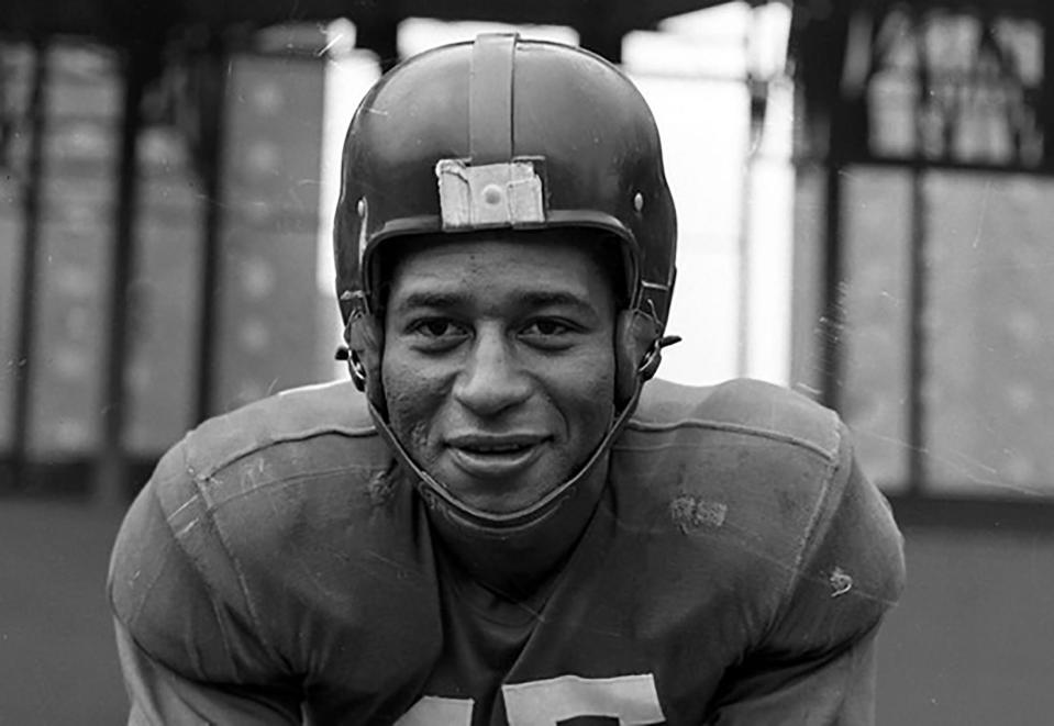 This undated photo provided by United States Coast Guard shows Emlen Tunnell, the first Black player inducted into the Pro Football Hall of Fame. Tunnell served in the Coast Guard during and after World War II, where he was credited with saving the lives of two shipmates in separate incidents. Now, a Coast Guard cutter and an athletic building on the Coast Guard Academy campus are being named in honor of the former New York Giants defensive back. (United States Coast Guard via AP)