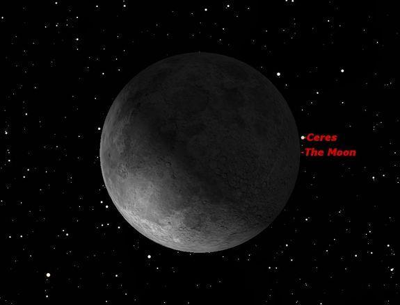 Ceres and the moon in conjunction at 5 a.m. EDT (0900 GMT) on Sept. 9, 2012. The moon will appear to pass in front of, or occult, Ceres over most of North America.