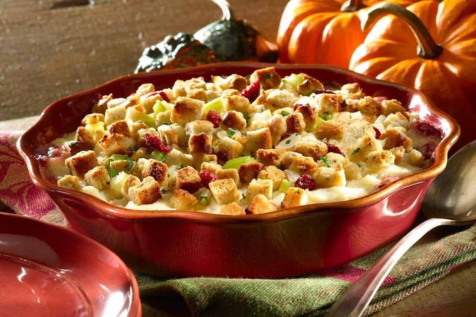 """Layer your baking dish with leftover stuffing followed by leftover turkey. The result? A flavorful, creamy casserole that's ready in 40 minutes. <a href=""""https://www.epicurious.com/recipes/food/views/best-foods-creamy-turkey-casserole?mbid=synd_yahoo_rss"""" rel=""""nofollow noopener"""" target=""""_blank"""" data-ylk=""""slk:See recipe."""" class=""""link rapid-noclick-resp"""">See recipe.</a>"""