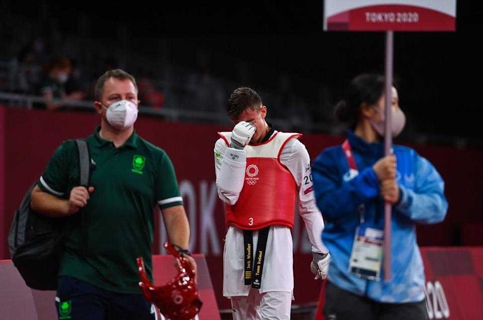 Tokyo , Japan - 24 July 2021; Jack Woolley of Ireland, reacts after defeat to Lucas Lautaro Guzman of Argentina during the men's -58Kg taekwondo round of 16 at the Makuhari Messe Hall during the 2020 Tokyo Summer Olympic Games in Tokyo, Japan. (Photo By Brendan Moran/Sportsfile via Getty Images)