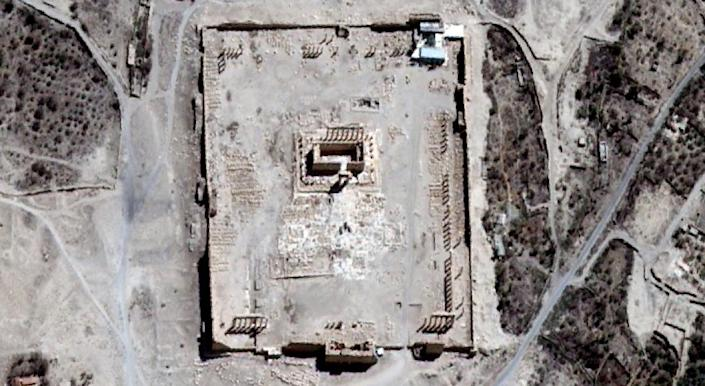 A satellite image with the Temple of Bel seen in Syria's ancient city of Palmyra on August 27, 2015 (AFP Photo/-)