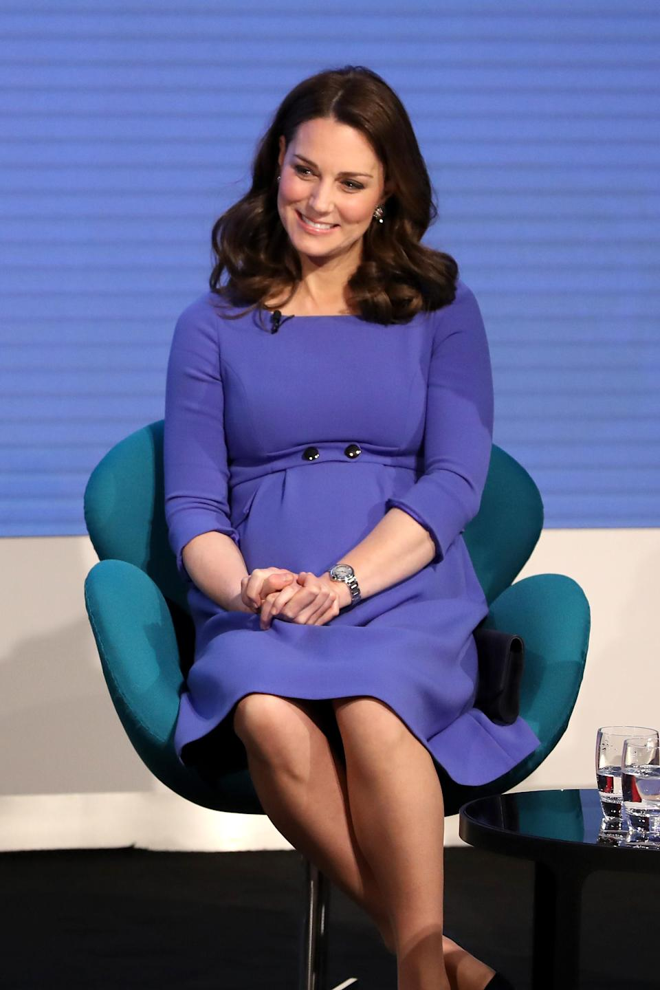 <p><strong>The occassion:</strong> The first annual Royal Foundation Forum held at Aviva in London.<br><strong>The look:</strong> A royal blue tailored maternity dress by Seraphine.<br>[Photo: Getty] </p>