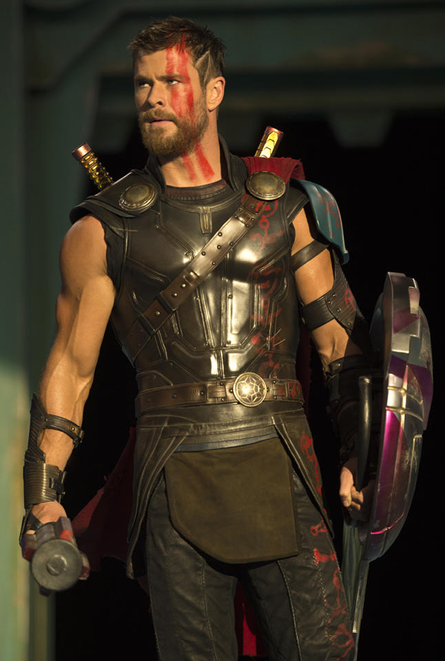 <p><em>Thor: Ragnarok</em> finds our Mjölnir-less, close-cropped god of thunder (Chris Hemsworth) forced into an interstellar combat arena. (Photo: Marvel) </p>