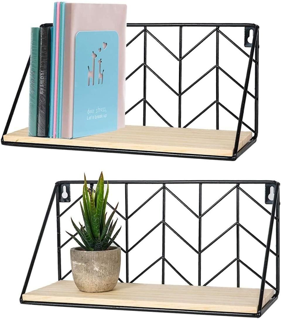 <p>These wall-mounted <span>Timeyard Floating Shelves</span> ($18 for two) have a sleek yet rustic look that's perfect for storing books, files, and even plants. Hang these shelves above your desk or on an accent wall to spruce up the space.</p>