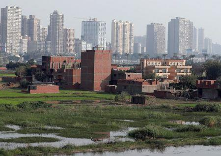 A view of houses and farmland on an island on the River Nile in front of high-rise buildings in Cairo, Egypt, November 25, 2018. Picture taken November 25, 2018. REUTERS/Amr Abdallah Dalsh