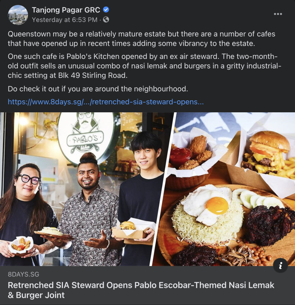 On Wednesday, a link to an online article featuring the eatery was shared by Tanjong Pagar GRC on its Facebook page. (PHOTO: Facebook/Tanjong Pagar GRC)