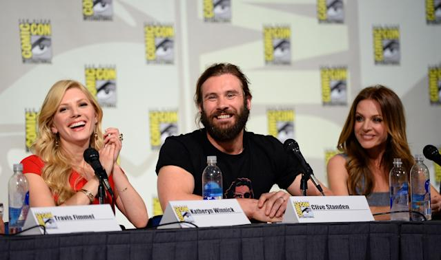 "Katheryn Winnick, Clive Standen and Jessalyn Gilsig speak at the ""Vikings"" Panel during San Diego Comic Con 2013 at San Diego Convention Center on July 19, 2013 in San Diego, California."