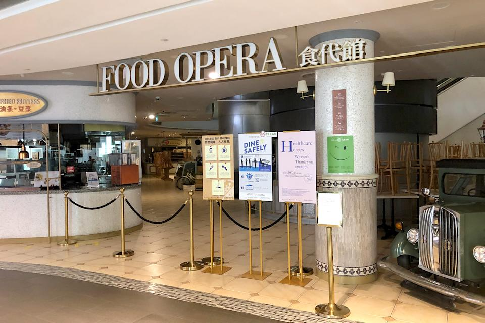 The foodcourt at the ION mall on Orchard Road seen closed on 7 April 2020, the first day of Singapore's month-long circuit breaker period. (PHOTO: Dhany Osman / Yahoo News Singapore)