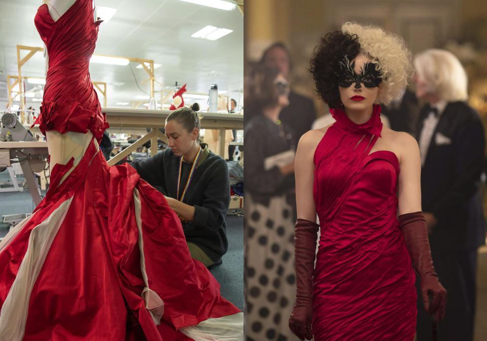 """This combination of images released by Disney shows a seamstress working on a costume for the film """"Cruella,"""" left, and Emma Stone wearing the costume in a scene from """"Cruella."""" Costumes for the film were designed by Oscar winning designer Jenny Beavan. (Laurie Sparham/Disney via AP)"""