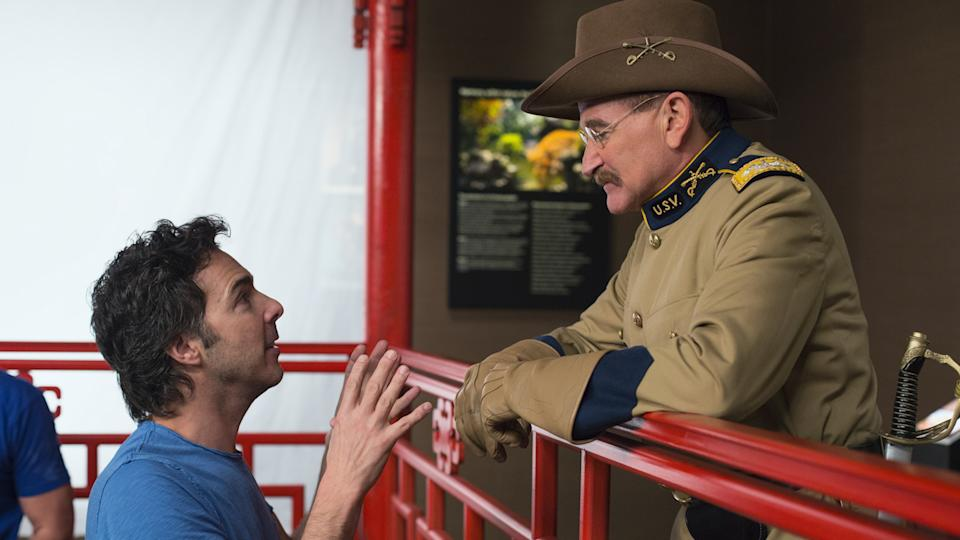 Shawn Levy and Robin Williams on the set of Night At The Museum. (Vertical Entertainment)