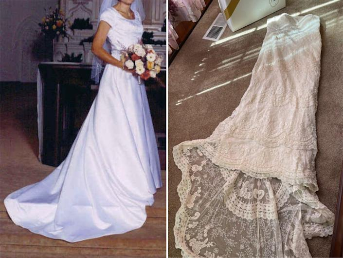 A side-by-side of two different wedding dresses.