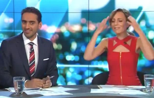 Carrie and Waleed clash over silly panel discussion. Photo: Network Ten
