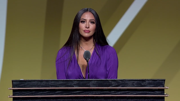 """<p>Vanessa Bryant <a href=""""https://people.com/sports/vanessa-bryant-accepts-hall-of-fame-induction-honor-for-kobe-bryant/"""" rel=""""nofollow noopener"""" target=""""_blank"""" data-ylk=""""slk:spoke on her late husband Kobe Bryant's behalf"""" class=""""link rapid-noclick-resp"""">spoke on her late husband Kobe Bryant's behalf</a> as the iconic Los Angeles Lakers basketball player was inducted into the Naismith Memorial Basketball Hall of Fame on Saturday night, May 15.</p> <p>During the event in Springfield, Massachusetts, the mother of four gave a moving speech about her beloved husband's career and how he was looking forward to the Hall of Fame ceremony before his tragic death.</p>"""