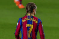 Barcelona's Antoine Griezmann during the Spanish La Liga soccer match between FC Barcelona and Real Sociedad at the Camp Nou stadium in Barcelona, Spain, Wednesday, Dec. 16, 2020. (AP Photo/Joan Monfort)