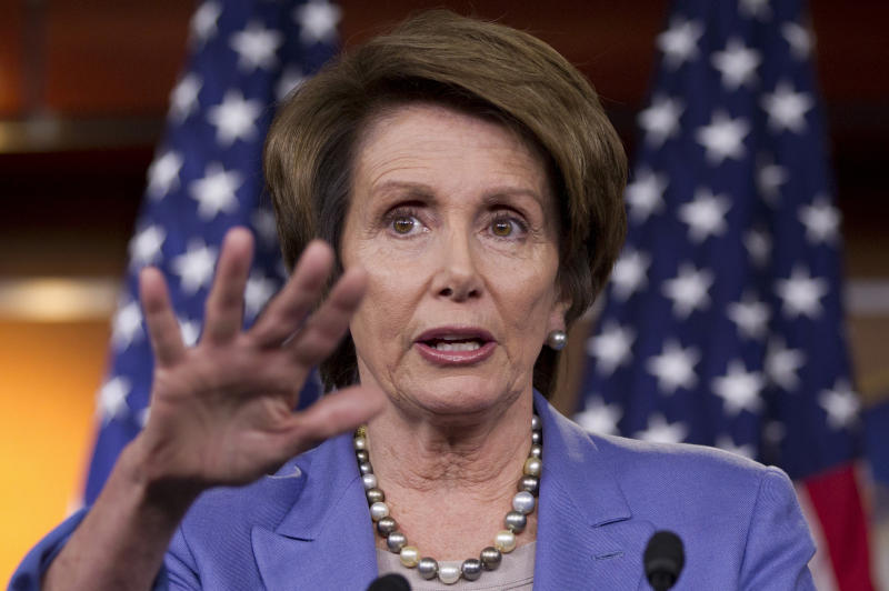 House Minority Leader Nancy Pelosi of Calif., holds her weekly news conference on Capitol Hill in Washington, Thursday, March 29, 2012. (AP Photo/J. Scott Applewhite)