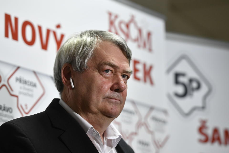 Chairman of the Communist Party (KSCM) Vojtech Filip talks to the media after the parliamentary election in Prague, Czech Republic, Saturday, Oct. 9, 2021. The Communists will not enter the Chamber of Deputies, the lower house of Czech parliament, for the first time in the history of the independent Czech Republic. (AP Photo via CTK/Radek Petrasek)(Radek Petrasek/CTK via AP)