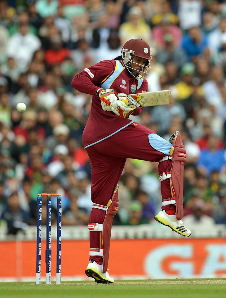 West Indies' Chris Gayle bats during the ICC Champions Trophy match at The Oval, London.