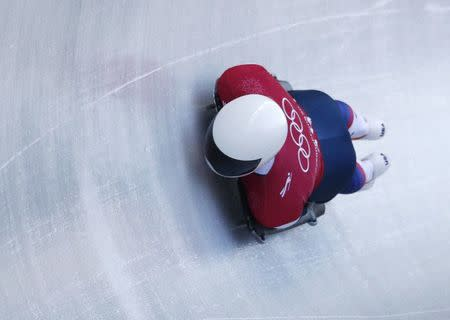 Skeleton – Pyeongchang 2018 Winter Olympics – Men's Training – Olympic Sliding Centre - Pyeongchang, South Korea – February 13, 2018 - Matt Antoine of the U.S. in action. REUTERS/Edgar Su