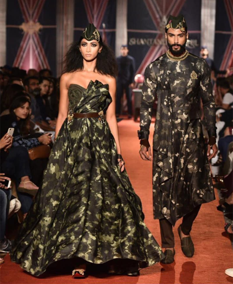 Indian designers Shantanu and Nikhil debut a camouflage wedding dress.