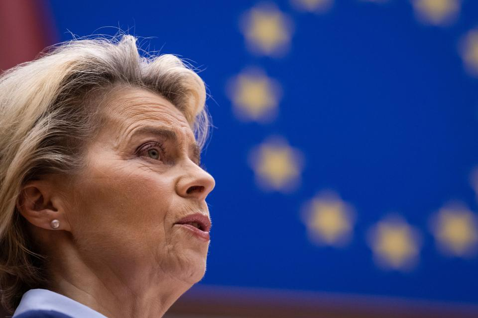 "President of Commission Ursula von der Leyen delivers a speech, on the conclusions of ""Rule of Law Conditionality and Own Resources"", at European Parliament, in Brussels, on December 16, 2020. (Photo by JOHN THYS / POOL / AFP) (Photo by JOHN THYS/POOL/AFP via Getty Images)"