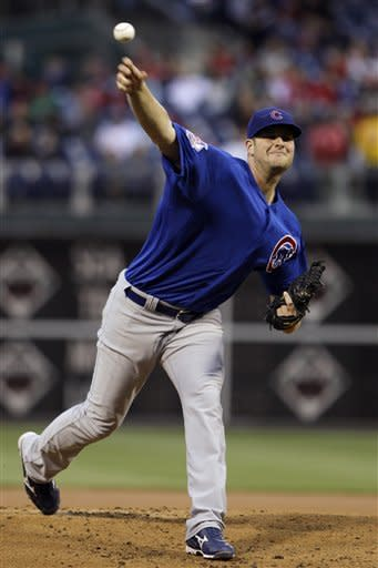 Chicago Cubs' Chris Volstad pitches in the first inning of a baseball game against the Philadelphia Phillies, Monday, April 30, 2012, in Philadelphia. (AP Photo/Matt Slocum)