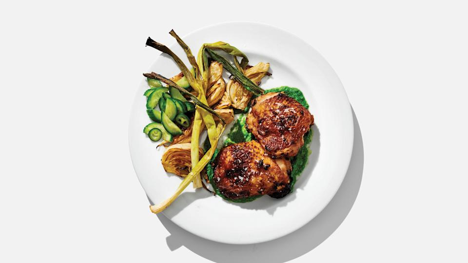 "Use a little extra time on a Sunday to make a meal with built-in leftovers and you'll have the foundation for lunches during the week. Prep these thighs along with <a href=""https://www.bonappetit.com/recipe/chile-garlic-cucumbers?mbid=synd_yahoo_rss"" rel=""nofollow noopener"" target=""_blank"" data-ylk=""slk:Chile-Garlic Cucumbers"" class=""link rapid-noclick-resp"">Chile-Garlic Cucumbers</a> and <a href=""https://www.bonappetit.com/recipe/sesame-scallion-sauce?mbid=synd_yahoo_rss"" rel=""nofollow noopener"" target=""_blank"" data-ylk=""slk:Sesame-Scallion Sauce"" class=""link rapid-noclick-resp"">Sesame-Scallion Sauce</a>, and spin that into <a href=""https://www.bonappetit.com/recipe/chicken-and-cucumber-rice-bowls?mbid=synd_yahoo_rss"" rel=""nofollow noopener"" target=""_blank"" data-ylk=""slk:Chicken and Cucumber Rice Bowls"" class=""link rapid-noclick-resp"">Chicken and Cucumber Rice Bowls</a> and <a href=""https://www.bonappetit.com/recipe/greens-and-beans-sandwiches?mbid=synd_yahoo_rss"" rel=""nofollow noopener"" target=""_blank"" data-ylk=""slk:Greens-and-Beans Sandwiches"" class=""link rapid-noclick-resp"">Greens-and-Beans Sandwiches</a> for weekday lunches. <a href=""https://www.bonappetit.com/recipe/big-batch-chicken-thighs-with-fennel-and-scallions?mbid=synd_yahoo_rss"" rel=""nofollow noopener"" target=""_blank"" data-ylk=""slk:See recipe."" class=""link rapid-noclick-resp"">See recipe.</a>"
