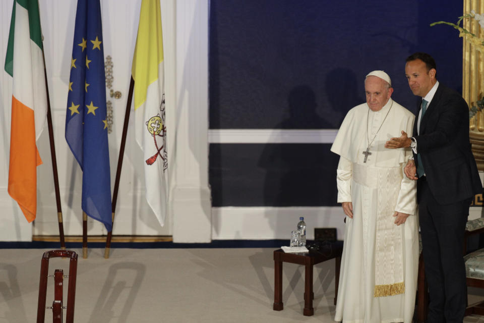 Pope Francis talks with Irish Prime Minister Leo Varadkar during their meeting, in Dublin, Ireland, Saturday, Aug. 25, 2018. Pope Francis is on a two-day visit to Ireland. (AP Photo/Gregorio Borgia)