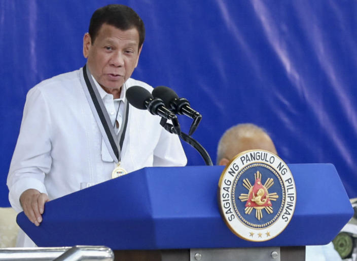 File Photo: Philippine President Rodrigo Duterte delivers his speech during the Presidential Security Group Change of Command ceremony on Feb. 25, 2020 at the PSG Compound in Malacañang Park, Manila, Philippines. (Robinson Ninal Jr./Malacanang Presidential Photographers Division via AP)
