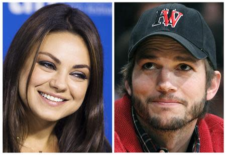 Mila Kunis (L), seen at the Toronto Film Festival on September 10, 2013 and Ashton Kutcher, seen at an LA Lakers game in Los Angeles May 1, 2012, are seen in a combination photo. REUTERS/Mark Blinch/Alex Gallardo/Files