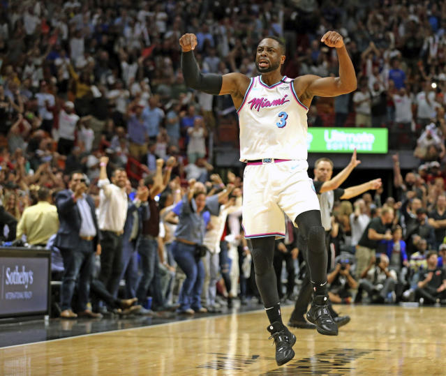 "<a class=""link rapid-noclick-resp"" href=""/nba/players/3708/"" data-ylk=""slk:Dwyane Wade"">Dwyane Wade</a> reminds everyone whose house AmericanAirlines Arena is. (AP)"