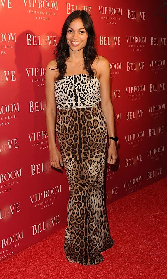 "Animal prints never seem to go out of style, but the two clashing patterns featured on Rosario Dawson's strapless dress were definitely overkill. Gavan/<a href=""http://www.gettyimages.com/"" target=""new"">GettyImages.com</a> - May 13, 2011"