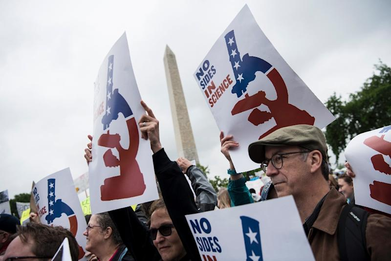 Gloomy weather in the US capital didn't dampen the mood at the march in Washington, which featured speeches, music and teach-ins (AFP Photo/Brendan Smialowski)